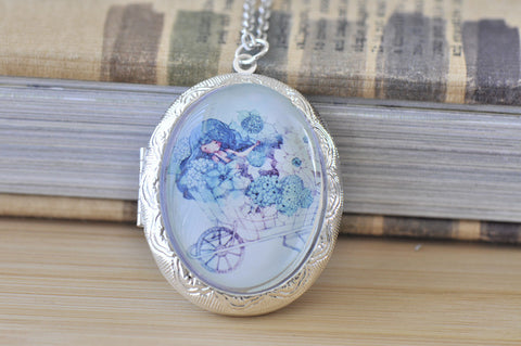 Large Oval Locket - Blue Girl