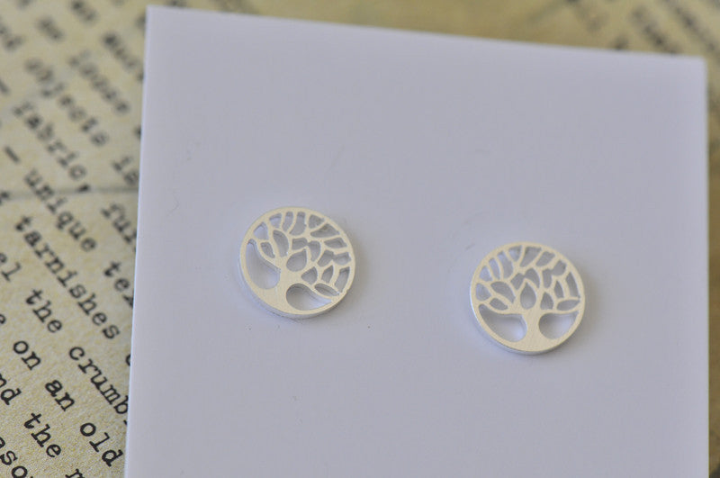 Silver - Stainless Steel Tree of Life Cutout Mini Dainty Stud Earrings