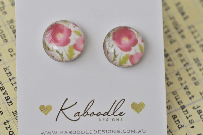 Handmade Artwork Watercolour Flower Stud Earrings - ER319