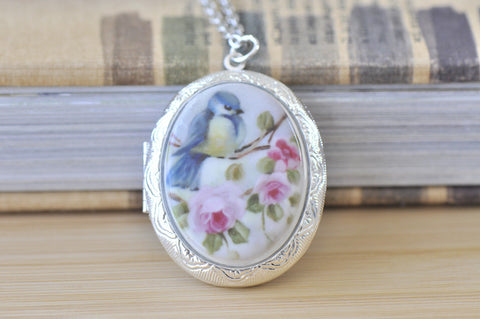 Large Oval Locket with Ceramic Cameo - Vintage Bird on a Branch of Roses