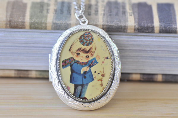 Large Oval Locket - Vintage Retro Moppet Boy