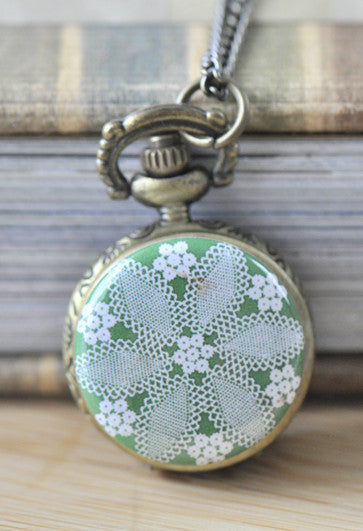 Green Mandala Design Kaleidoscope Pocket Watch Necklace
