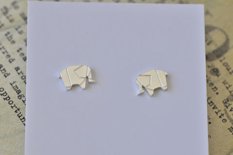 Silver - Stainless Steel Origami Elephant Cutout Mini Dainty Stud Earrings