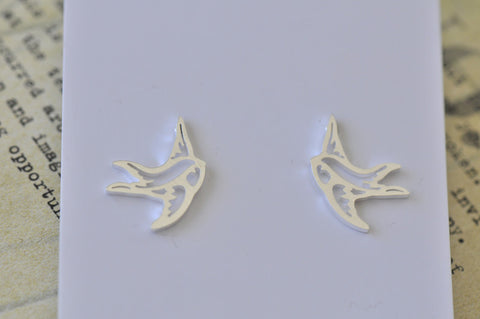 Silver - Stainless Steel Bird Swallow Cutout Mini Dainty Stud Earrings