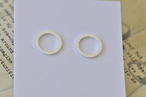 Silver - Stainless Steel Circle Ring Cutout Mini Dainty Stud Earrings