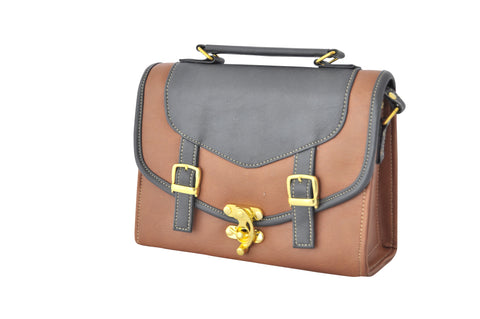 Double Strap Old School Satchel in Brown - Small
