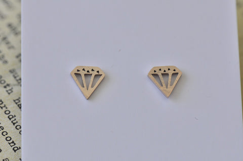 Rose Gold - Stainless Steel Diamond Shape Mini Dainty Stud Earrings