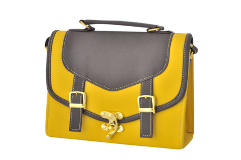 Double Strap Old School Satchel in Mustard and Brown - Small