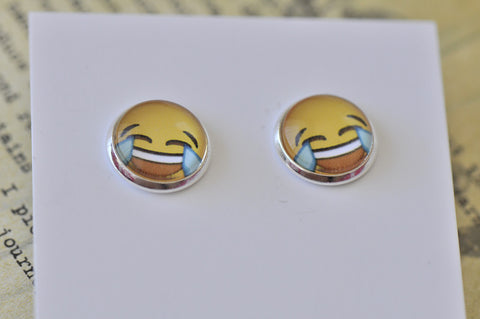 Emoji Emojicon Happy Tears Laughing Face Stud Earrings