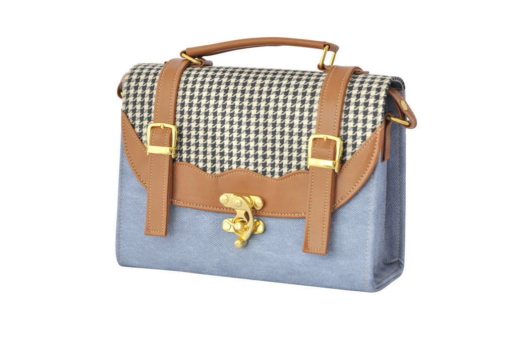 Back to School Double Strap Satchel in Light Denim - Small