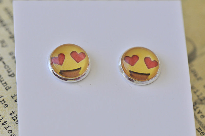 Emoji Emojicon Love Heart Eyes Face Stud Earrings