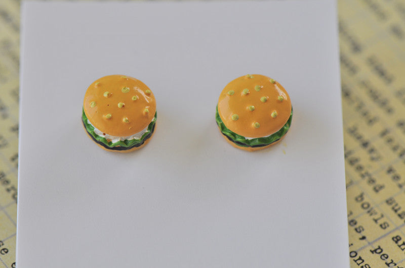 Miniature Food Hamburger Stud Earrings