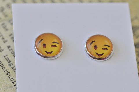 Emoji Emojicon Wink Wink Face Stud Earrings
