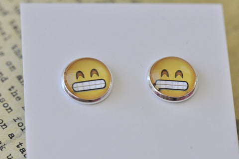Emoji Emojicon Grinning Face Stud Earrings
