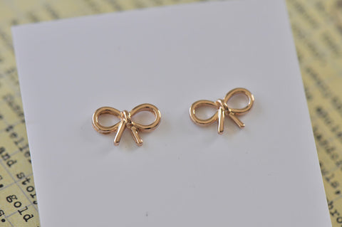 Rose Gold - Zinc Alloy Bow Cutout Mini Dainty Stud Earrings