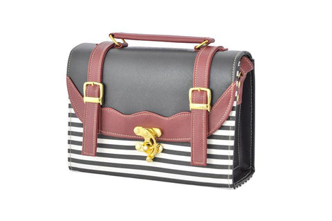 Back to School Double Strap Satchel in Maroon and Stripes - Small