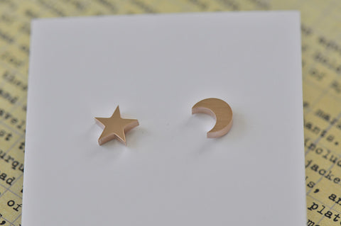 Rose Gold - Stainless Steel Star and Moon Cutout Mini Dainty Stud Earrings