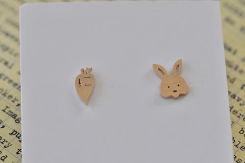 Rose Gold - Stainless Steel Rabbit and Carrot Cutout Mini Dainty Stud Earrings