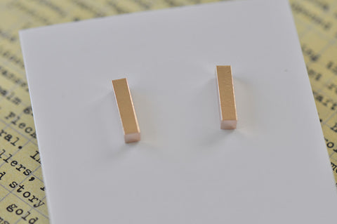 Rose Gold - Stainless Steel Bar Cutout Mini Dainty Stud Earrings