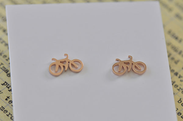 Rose Gold - Stainless Steel Bicycle Cutout Mini Dainty Stud Earrings