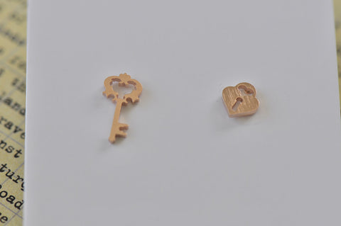 Rose Gold - Stainless Steel Lock and Key Cutout Mini Dainty Stud Earrings
