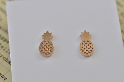 Rose Gold - Stainless Steel Pineapple Mini Dainty Stud Earrings