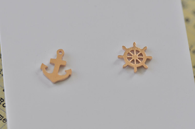 Rose Gold - Stainless Steel Anchor and Wheel Cutout Mini Dainty Stud Earrings