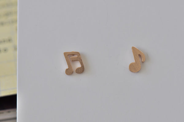 Rose Gold - Stainless Steel Music Notes Cutout Mini Dainty Stud Earrings