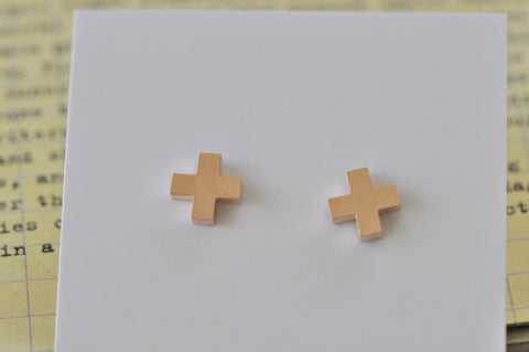 Rose Gold - Stainless Steel Cross Cutout Mini Dainty Stud Earrings