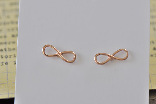 Rose Gold - Stainless Steel Infinity Cutout Mini Dainty Stud Earrings