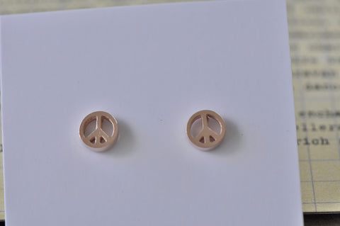 Rose Gold - Stainless Steel Peace Sign Cutout Mini Dainty Stud Earrings