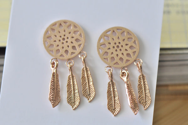 Rose Gold - Stainless Steel Dream Catcher Cutout Mini Dainty Stud Earrings
