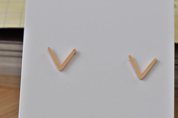 Rose Gold - Stainless Steel V shape Cutout Mini Dainty Stud Earrings