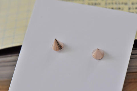 Rose Gold - Stainless Steel Point Cutout Mini Dainty Stud Earrings