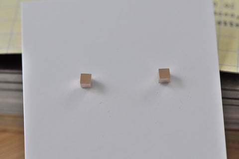 Rose Gold - Stainless Steel Square Cube Cutout Mini Dainty Stud Earrings