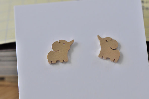 Rose Gold - Stainless Steel Elephant Cutout Mini Dainty Stud Earrings