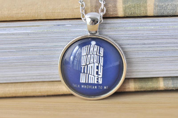 Handmade 25mm Glass Pendant Necklace - Doctor Who Wibbly Wobbly Timey Wimey