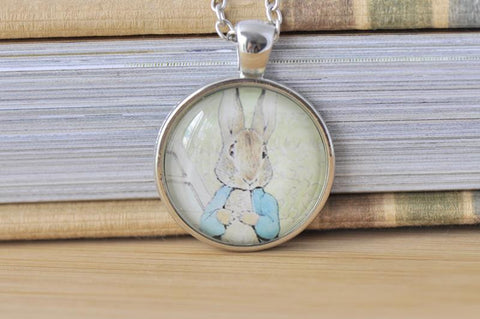 Handmade 25mm Glass Pendant Necklace - Peter Rabbit