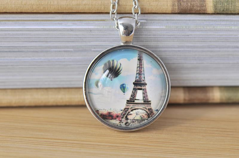 Handmade 25mm Glass Pendant Necklace - Paris Eiffel Tower Hot Air Balloon