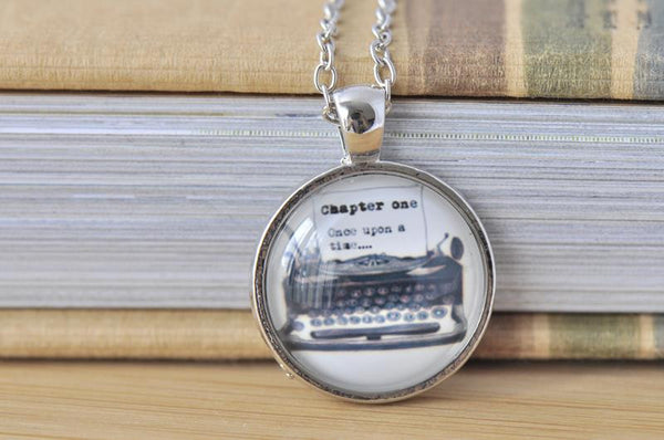 Handmade 25mm Glass Pendant Necklace - Typewriter
