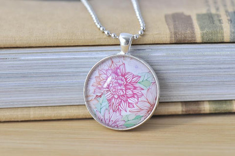 Handmade 30mm Glass Pendant Necklace - Outline Flowers