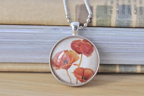 Handmade 30mm Glass Pendant Necklace - Red Poppies