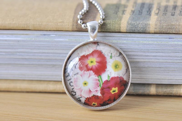 Handmade 30mm Glass Pendant Necklace - Vintage Flowers
