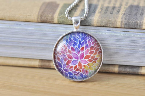 Handmade 30mm Glass Pendant Necklace - Rainbow Watercolour
