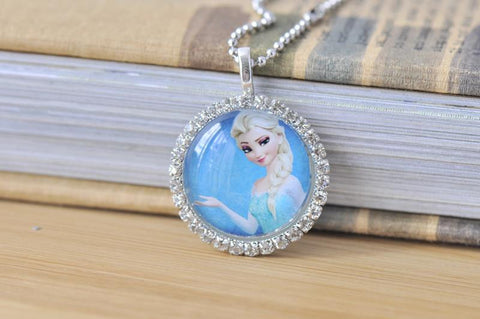 Handmade 30mm Glass Pendant Necklace - Frozen Elsa