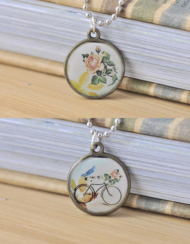 Handmade 25mm Double-Sided Glass Pendant Necklace - Vintage Bicycle and  Flowers