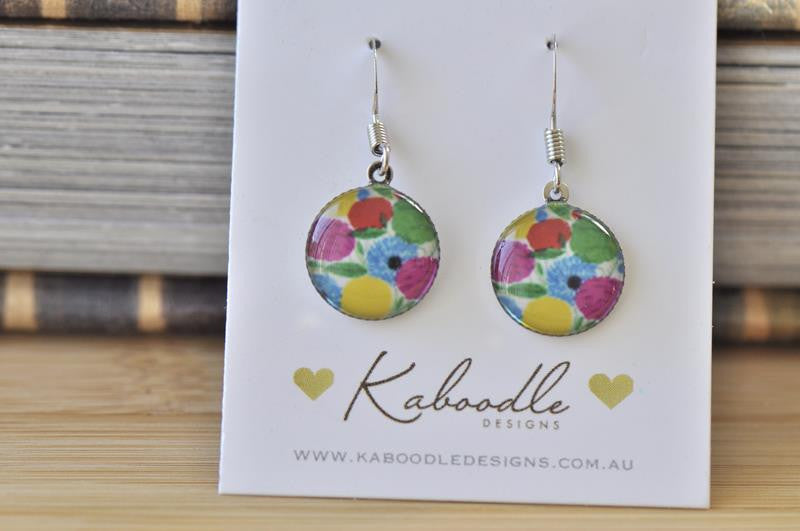 Handmade Round Hook Watercolour Flowers Dangle Earrings - RHE069