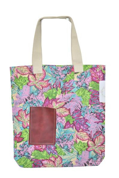 Canvas Tote Bag with Pocket - Colourful Leaves