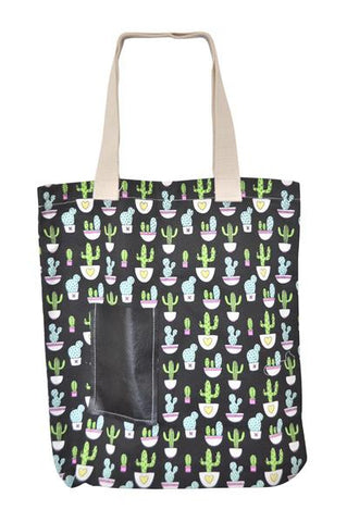 Canvas Tote Bag with Pocket - Cactus
