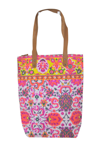 Batik Style Neon Colour Tote Bag with Zip - White